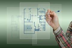 skissa för husplan stock illustrationer