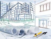 Skissa för perspektiv för två punkt av byggnad på gataföreningspunkt Arkivfoton