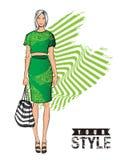 skissa fashion flickor vektor illustrationer