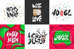 Skissa ferie för fastställd jul och för det nya året Detaljerad tappningetsningteckning royaltyfri illustrationer