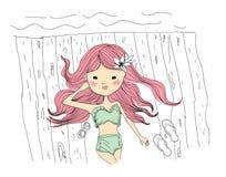 Skissa flickan på stranden Arkivbild
