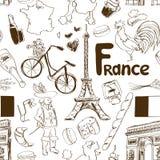 Skissa Frankrike den sömlösa modellen vektor illustrationer