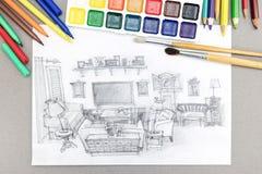 Skissa Freehand av vardagsrum med vattenfärgmålarfärger, borstar och filtspetsar Fotografering för Bildbyråer