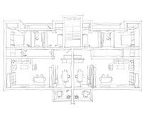 Skissa Freehand illustrationen av den möblerade lägenheten Royaltyfri Fotografi