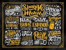 Skissa Freehand stilteckningen av den spanska menyn med olika matnamn, olika beståndsdelar och räcka skriftlig bokstäver Svart ta vektor illustrationer