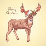 Skissa gulliga hjortar i tappningstil Royaltyfri Fotografi