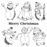 Skissa hand drog gulliga snowmans för stil Royaltyfri Fotografi