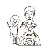 Skissa hjälten för farsan för den halva kroppen för konturen den toppna med flickan på hans hand och pojke på hans baksida royaltyfri illustrationer