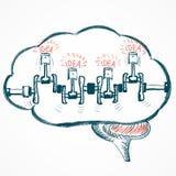 Skissa hjärnan med motorn och idéer Fotografering för Bildbyråer