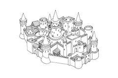 Skissa illustrationen av den gamla staden som isoleras på vit Dragen konst för vektor hand stock illustrationer