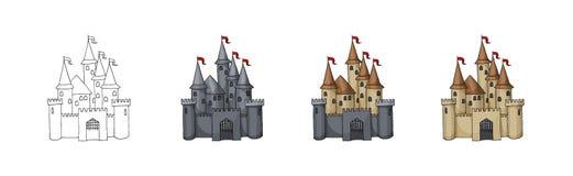 Skissa illustrationen av den gamla staden som isoleras på vit Dragen konst för vektor hand vektor illustrationer