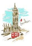 Skissa illustrationen av det Big Ben tornet Royaltyfri Fotografi