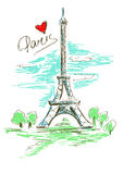 Skissa illustrationen av Eiffeltorn
