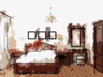 Skissa illustrationen av sovrum Arkivbild