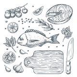 Skissa illustrationen, laga mat fiskdorado och laxbiff Havs- beståndsdelar för restaurangmenydesign royaltyfri illustrationer