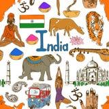 Skissa Indien den sömlösa modellen Royaltyfri Bild
