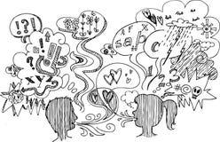 Skissa klotter: koppla ihop förar dialog Arkivbild
