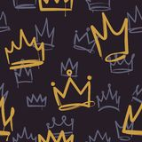 Skissa kronamodellen Den sömlösa prinsessan för trycktexturflickan krönar den lyxiga kungliga kranstapeten den inre klotterve vektor illustrationer