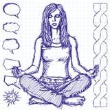 Skissa kvinnameditationen i Lotus Pose Arkivbild