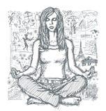 Skissa kvinnameditationen i Lotus Pose Against Love Story Backgro Royaltyfri Bild