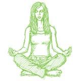 Skissa kvinnan som meditationen i lotusblomma poserar Royaltyfria Bilder