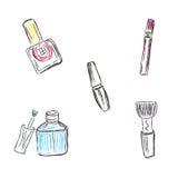 Skissa makeup, produkter, skönhetsmedel, vektorillustration Arkivbild