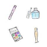 Skissa makeup, produkter, skönhetsmedel, vektorillustration Arkivfoto