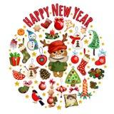 Skissa med den gulliga katten i en röd hatt med horn med klassiskt julpynt Prövkopia av affischen, inbjudan och stock illustrationer