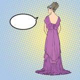 Skissa med den unga behagfulla modellen Tillbaka sikt av klänningen Lång aftonkappa med öppet tillbaka Royaltyfria Bilder