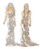 Skissa mode poserar Royaltyfria Bilder
