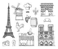Skissa om Frankrike och Paris royaltyfri illustrationer