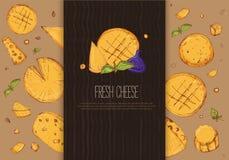 Skissa osthorisontalbanret Restaurangmeny på tillverkat papper med den olika typmozzarellaen, gauda, maasdam, Feta stock illustrationer