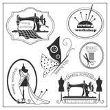 Skissa sömnaden och logotypen i tappningstil Royaltyfria Bilder