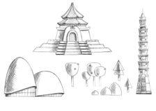 Skissa samlingen av byggnader, tempel, träd, växter Taiwan askfat vektor illustrationer