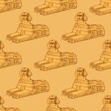 Skissa sfinxmonumentet i tappningstil royaltyfri illustrationer