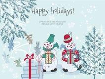 Skissa snögubbear för handteckningstecknade filmen med gåvor och julgranen royaltyfri illustrationer