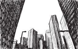 Skissa stadsscapebyggnad i illustration för Tokyo handattraktion royaltyfri illustrationer