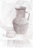 Skissa stilleben för blyertspennateckningen Arkivfoton
