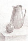 Skissa stilleben för blyertspennateckningen Royaltyfri Foto