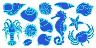 Skissa stilvektorn Marin- samling stock illustrationer