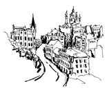 Skissa teckningen av Andrews nedstigning - en av de populäraste plommonerna stock illustrationer