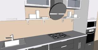 Skissa teckningen av den gråa moderna inre för kök 3d med runda huv- och exponeringsglasdörrar av skåp Vektor Illustrationer