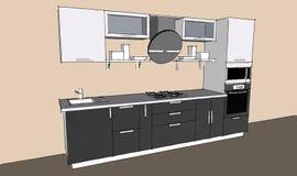 Skissa teckningen av den gråa moderna inre för kök 3d med runda huv- och exponeringsglasdörrar av skåp Royaltyfria Foton