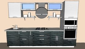 Skissa teckningen av den gråa moderna inre för kök 3d med runda huv- och exponeringsglasdörrar av skåp Royaltyfri Foto
