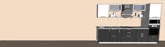 Skissa teckningen av den gråa moderna inre för kök 3d med runda huv- och exponeringsglasdörrar av skåp på lång bakgrund Stock Illustrationer