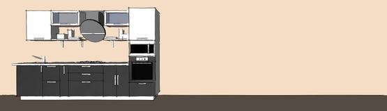 Skissa teckningen av den gråa moderna inre för kök 3d med runda huv- och exponeringsglasdörrar av skåp på lång bakgrund Vektor Illustrationer