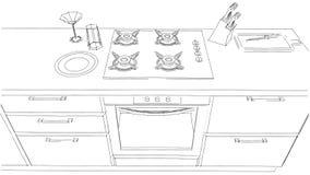 Skissa teckningen av den inbyggde den svartvita kökugnen och ugnen Stock Illustrationer