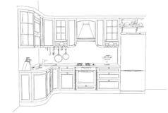Skissa teckningen av den klassiska kökinre 3d Arkivbilder