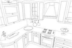 Skissa teckningen av den klassiska kökinre 3d Fotografering för Bildbyråer
