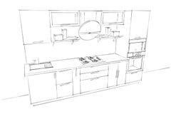 Skissa teckningen av den moderna inre för kök 3d med den runda huven Stock Illustrationer